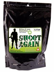 Sachet de 1 kg de billes bio blanches Shoot Again 6 mm de 0,32 g - Airsoft - PROMOTION
