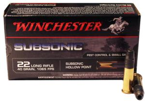 Munitions Winchester 22 LR Subsonic HP