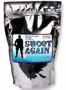 Sachet de 2 500 billes noires Shoot Again 6 mm de 0,32 g - Airsoft