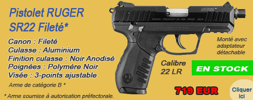PISTOLET RUGER SR22 FILETE - RUBRIQUE ARMES DE POING Cat. B -> RUGER