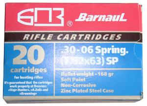Munitions BARNAUL 30-06 Spring - 168 gr