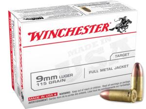 Munitions Winchester Pistolet 9x19mm FMJ 115 gr